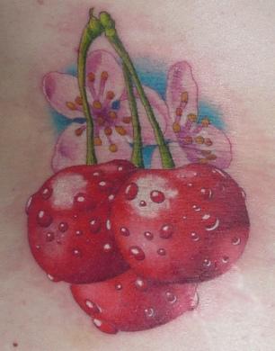 tatuagem 3d cereja