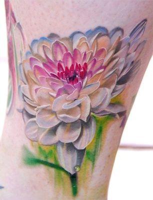 tatuagem 3d flor colorida