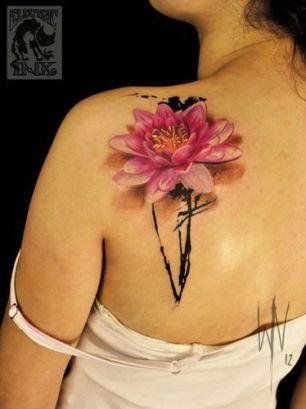 tatuagem 3d flor de lotus