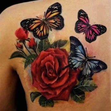 tattoo borboletas rosa